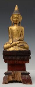 18th Century, Shan, Antique Tai Lue Burmese Wooden Seated Buddha