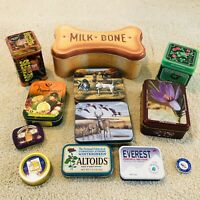Lot of 12 Collector Tins Milkbone Le Bonbon Uneeda Saffron Caspian Star Caviar