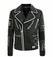 Men's Full Black Studded Embroidered Patches Biker Leather Punk  Fashion Jacket