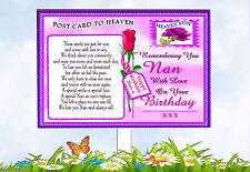 NAN BIRTHDAY POSTCARD TO HEAVEN MEMORIAL GRAVESIDE CARD & FREE HOLDER