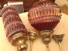 2 RARE Antique Vintage Multicolor Hanging Lamps Crystal Pendant Glass