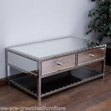 Living Room Furniture Mirrored Glass Coffee Table w/ 2 Drawers