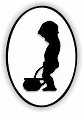 1x WC Child Boy Restroom Sticker Sign Black & White Bathroom Toilet Door