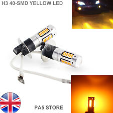2x Yellow H3 40-SMD 4014 LED Bulbs - Car Fog Light Lamp Daytime Running 12V UK