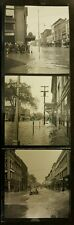 3 Vintage Old 1940's Photos of a Flood in City Street Car's Indiana? Come Sign