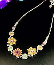 BRIGHTON MULTICOLOR RHINESTONE ENAMEL 'GARDEN OF EDEN' FLORAL CHAIN NECKLACE