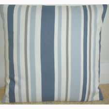 "18"" Cushion Cover Stripes Blue Beige Cream Taupe and Brown Stripe Striped 18x18"