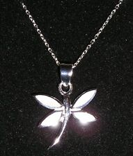DAINTY 925 STERLING SILVER & MOP INLAY DRAGONFLY PENDANT