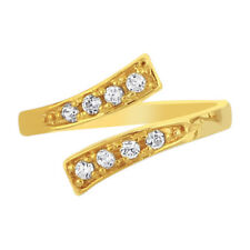 Solid Adjustable Diamonique Cz East West Toe Ring Real 14K Yellow Gold