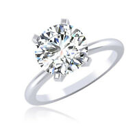 Bridal Solitaire 2.00 Ct Diamond Engagement Ring Solid 14K White Gold Size H,N
