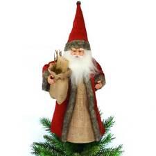 Puntale Babbo Natale per Albero Abiti Tessuto e Juta Decorazioni Natalizie 30cm