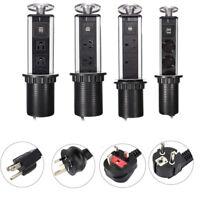 Electrical Pull  Up Power Outlet 3 Socket 2 USB Kitchen Desk US/EU/AU Plug JR