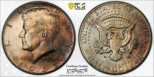 1965 KENNEDY HALF DOLLAR PCGS SP64 SMS BU UNC SELECT SILVER  COLOR TONED