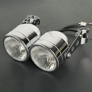 Chrome Twin Dual Front Headlight Bracket Fit For Sport Dirt Bike Street Fighter