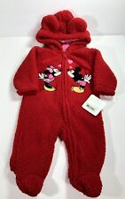 New Disney Baby Minnie Mouse & Mickey Mouse Kissing Hooded Footie Size 6 M NWT