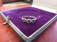 925 Sterling Silber Ring Schmal Dreisteiner Blau Kugeln Interessant Mädchenhaft