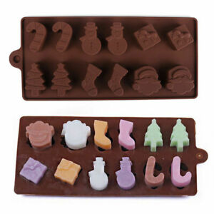 Christmas Silicone Chocolate Mould Cake Candy Soap Wax Melt Mold Ice Cube Tray