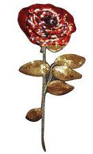 Gran Parche De Flor Rosa Bordado De Lentejuelas Apliques de lentejuelas coser o hierro en