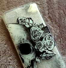 for iPhone 7 - Hard TPU Rubber Gummy Skin Case Cover Black Clear Skull Roses