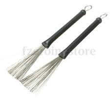 2Pcs Retractable Stainless Steel Drum Brushes Wire Adjustable Telescopic Jazz