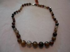 """Brown Agate Beaded Necklace w/Lobster Claw Clasp-20""""-151.00 Carats"""