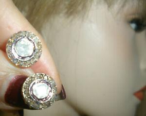 REAL CLEAN GENUINE ANTIQUE 2CT CLEAN RADIANT ROSE CUT DIAMOND STUD 14K EARRINGSS