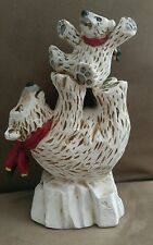 David Frykman Polar Bear and Cub on Iceberg Tall Figurine Sculpture 1994
