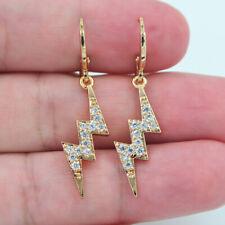 18K Yellow Gold Filled Women Clear Topaz Stylish Lightning Dangle Earrings