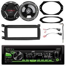 "JVC CD AM/FM Radio w/ Kit, 2x 6.5"" 2-Way Speakers w/ Plates + Connector, Adapter"