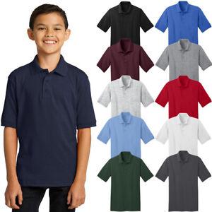 Port & Company Youth Polo T Shirts Short Sleeve Jersey Blend Uniform Kids Boys
