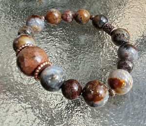 LARGE STARRY SKY CRYSTALIZED AGATE GEMSTONES COPPER ACCENTS BRACELET SZ LG