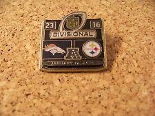 SB Super Bowl 50 Denver Broncos Pittsburgh Steelers Div pin w/ score 23 16 32375