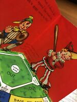 Vintage Clowns Playing Baseball Game Pop Up Diamond Birthday Greeting Card