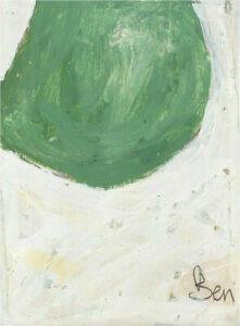 Ben Carrivick - Signed Contemporary Oil, Green on white