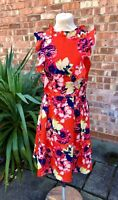 Whistle and Wolf Orange Floral Frill Fit and Flare Dress, UK Size 10