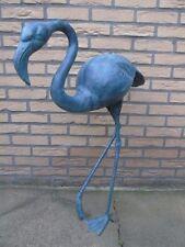 FLAMANT ROSE EN BRONZE , statue oiseau , animaux en bronze patiné