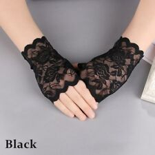 2018 Women Evening Bridal Wedding Party Dressy Lace Fingerless Gloves Mittens Black