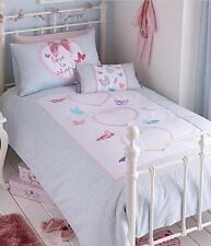 BEDSPREAD GIRLS SINGLE SUMMER BUTTERFLY HEARTS MINT PINK WHITE 150x200cm BEDDING