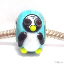 PENGUIN ON OPAQUE TURQUOISE Animal Bird Murano Glass European Bracelet Bead