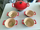 Le Creuset #28 Cast Iron Enamel Cerise Cassoulet Pot Set 4 Bowls NEW RETIRED