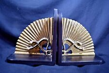 Vintage Collectible Pair of Hollywood Regency Heavy Brass Bookends Circa 1960's