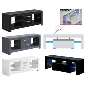 LED TV Stand Cabinet Unit Sideboard Matt Body & High Gloss w/ Drawers 16 Colors