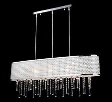 XXL Kristall Deckenlampe länglich Hängeleuchte 100cm Chrom massiv Design Emporia