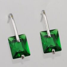 Nice Emerald Green Radiant Gem White Jewelry Gold Filled Stud Earrings E2993-18