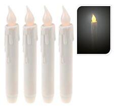 4 Led Kerzen Stabkerzen warmweiß Batterie weiße Kerze leicht flackernd Deko Neu
