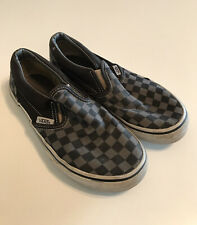 Vans Gray Black Checkerboard Slip On Sneakers Shoes Kids Size 2 Girls Or Boys
