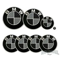 For BMW Badge Gloss Carbon Fiber Black & Dark Grey All Model Decal Sticker Fibre