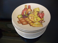 """10 Shafford Wine Cheese and Crackers Porcelain Appetizer 6"""" Bread & Butter Plate"""