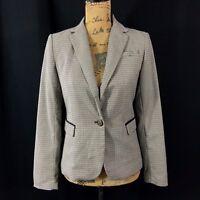 Savile Row Co. London Blazer XS Elbow Patch Ivory Brown Black Houndstooth Jacket