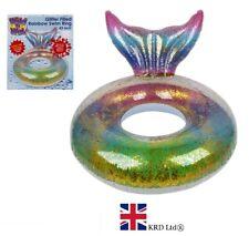 """43"""" gigante hinchable Natación Anillo Agua Flotador Arco Iris Brillo Piscina Diversión playa UK"""
